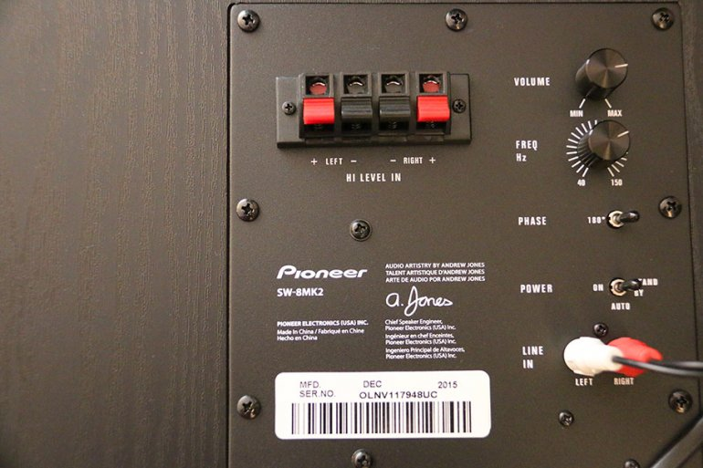A close-up of the subwoofer controls | The Master Switch