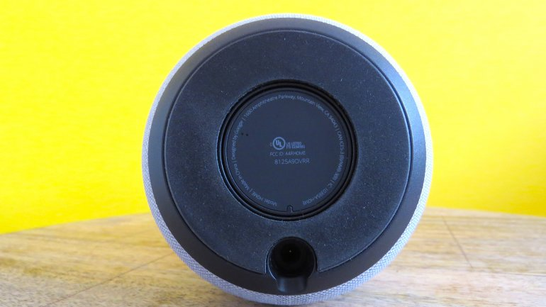 The Google Home's power supply is plugged into the bottom of the speaker | The Master Switch