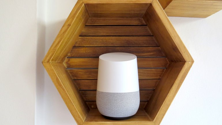 The Google Home fits nicely in most shelving units | The Master Switch