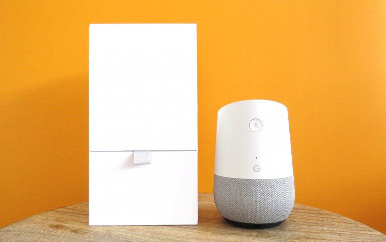 The Google Home comes in a white box with a flip up top | The Master Switch